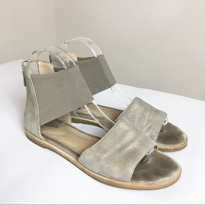 Eileen Fisher Gold Suede Zip-back Sandals Size 6